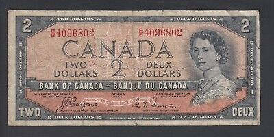 1954 $2 Dollars Devil's Face - Coyne Towers - Prefix B/B - Bank of Canada - F183