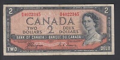 1954 $2 Dollars Devil's Face - Coyne Towers - Prefix B/B - Bank of Canada - F184