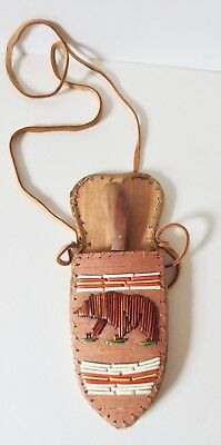 Neck Knife; Bear of quill on birch bark sheath, skinning knife P St John, Mohawk
