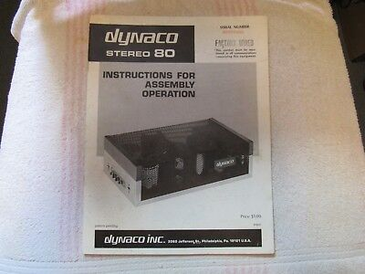 Dynaco/dynakit Brand. Model Stereo 80. Amplifier. Owner's/assembly Manual