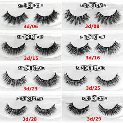 Pro 1Pair 3D Mink Natural Thick False Fake Eyelashes Eye Lashes Makeup Extension