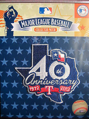 MLB Official Texas Rangers 40th Anniversary Commemorative Patch 2012