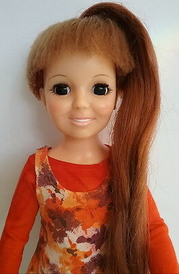 "Crissy Ideal Vintage 1970's Grow Hair Doll 18"" Tall Wearing Dungaree Orange 2 Pc"