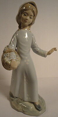 """Zaphin 9"""" Figurine Young Girl Pale Blue Dress w/ Basket of Grapes Made in Spain"""