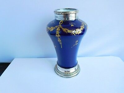 Stunnning 19Th Century Sevres Silver Mounted Cobalt Blue Vase