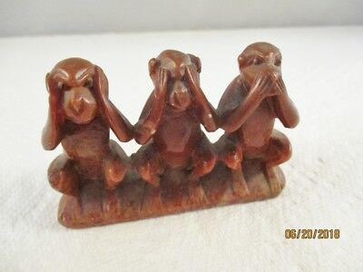 Vintage 3 Wise Monkeys Speak/ See /hear No Evil /figurine