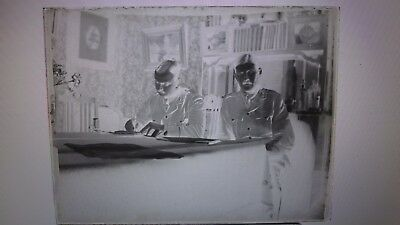 Victorian Military Personnel In Uniform Signing Forms Glass Photo Negative