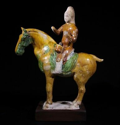 Fine Provenance Sancai Horse and Musician with Oxford TL Test - Tang Dynasty