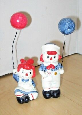 1972 Fitz & Floyd Raggedy Ann & Andy Figurines With Balloons, Free Shipping