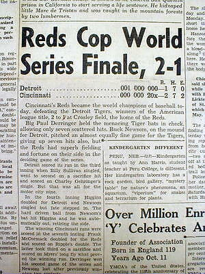 6 newspapers w 1940 baseball WORLD SERIES Cincinnati Reds defeat DETROIT TIGERS