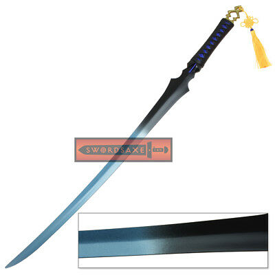 Blade and Soul Ghost Sword Dual Tone Fantasy Ninja Katana with Leather Scabbard