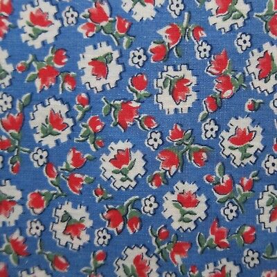 Vintage 1930s Red Rose Blue Floral Cameos Cotton Fabric