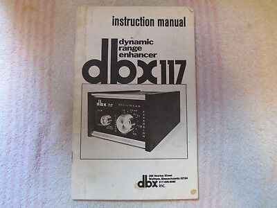 dbx BRAND. MODEL 117. DYNAMIC RANGE ENHANCER. OWNER'S MANUAL