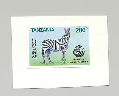 Tanzania #960 Zebra, Animals, 1v. imperf proof mounted on card