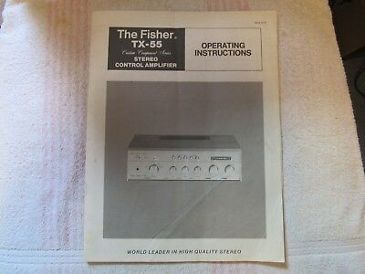 The Fisher Brand. Model Tx-55. Stereo Control Pre Amplifier. Owner's Manual