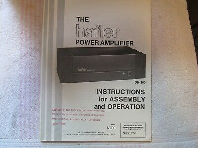 Hafler Brand. Model Dh-200. Stereo Power Amplifier. Owner's Manual