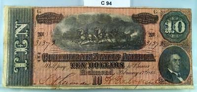 1864 $10 Ten Dollar Confederate Note / Currency T-68 #c94