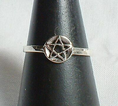 tiny pentagram ring pentacle light Sterling silver~wicca~witch~pagan jewellery