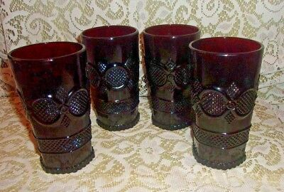 "Lot of 4 Avon Ruby Red Cape Cod Ice Tea Tumbler Glasses 5 1/2"" Tall EXC"