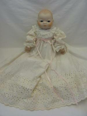 """Vtg Signed Grace S Putman Susie 84 Bisque Head/Hands 19"""" Bye-Lo-Baby in 4pc Gown"""