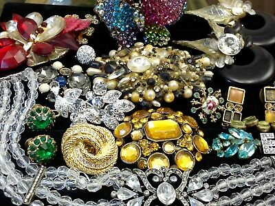 Large Lot Of Vintage~Retro Rhinestone, Crystal.. Jewelry For Repair, Parts (E25)