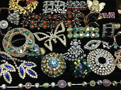 Large Lot Of Vintage~Retro Rhinestone, Crystal.. Jewelry For Repair, Parts (E214