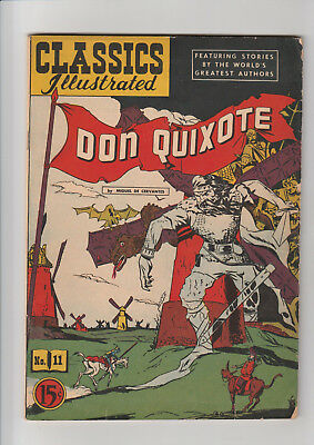 Classics Illustrated #11 HRN 44 - Don Quixote (1947, Gilberton) F Scarce wLetter