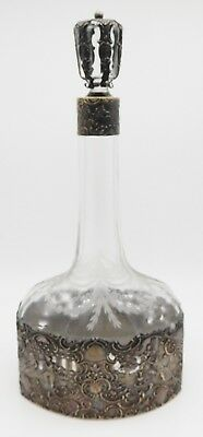 "Antique MAUSER Sterling Silver / Glass 11"" Wine or Cognac Decanter Bottle"