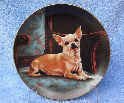 """CHIHUAHUA COLLECTOR PLATE """"The Perfect Spot"""" John Silver The Danbury Mint"""