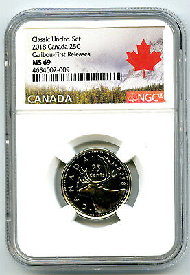 2018 Canada Classic 25 Cent Quarter Ngc Ms69 First Releases Rare Top Pop Only 4