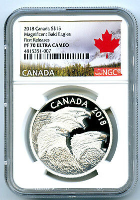 2018 1Oz Canada $15 Silver Proof Ngc Pf70 Magnificent Bald Eagle First Releases
