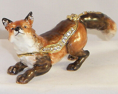Kingspoint Hunter The Fox Pewter  Bejeweled Hinged Trinket / Jewelry  Box