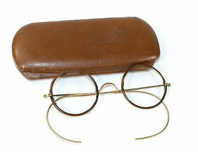 SHUR-ON ROUND WIRE RIM with BROWN CELLULOID SPECTACLES/GLASSES & CASE- EC26