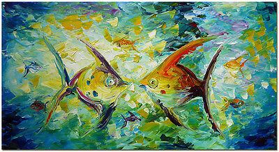 Angel Fish - Hand Painted Nautical Fishes Oil Painting On Canvas 32x16""