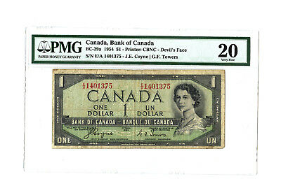 1954 $1 CANADA PMG 20 DEVIL'S FACE BC-29a BANKNOTE S/N E/A 1401375 COYNE TOWERS