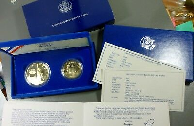 1986 S Statue Of Liberty Commemorative Proof Two Coin Set 90% Silver Dollar Mint
