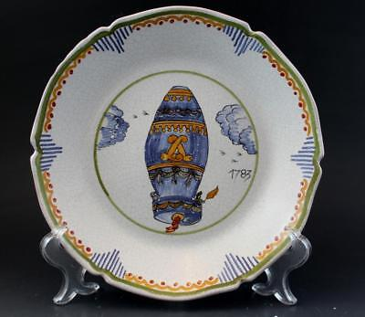 19C French Faience Art Pottery Plate Montgolfier Brothers Hot Air Balloon 1783
