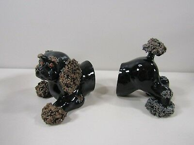 Vintage Black Brown Spaghetti Pom Pom Poodle Dog Bookends Figurine