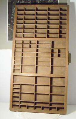 "Antique/Vintage Hamilton Wood Printer's Drawer/Tray~89 Slots~32"" Long"