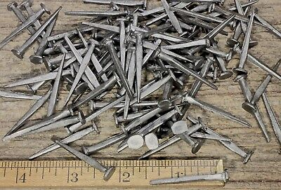 "1 1/2"" BRAD NAILS 200 lot antique square wrought iron look round flat heads 1.5"""