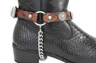 Men Biker Silver Boots Chains Straps Pair Brown Leather Buffalo Bull Charms USA