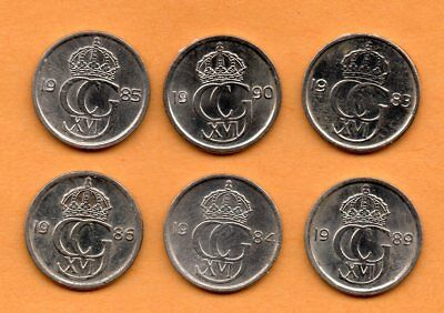 1983 to 1990 Sweden 10 Ore Coin Lot of 6