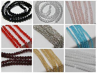 200 Pcs Crystal Glass 3mm Faceted Round Beads Jewelry Spacer Color for Choice