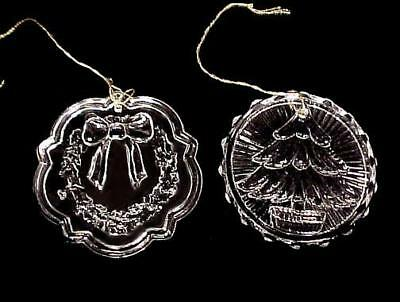 2 Clear Glass Christmas Tree Ornaments Wreath Evergreen Tree Pair