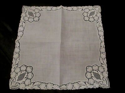 Vintage White Wedding lace linen hanky handkerchief, 11""
