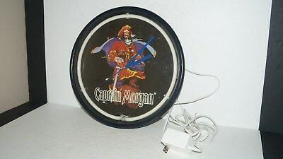 Vintage Captain Morgan Wall Hanging Neon Lighted Clock Rum Mancave Bar Sign