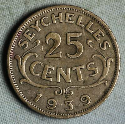 Seychelles 1939 ~  25 Cents coin - KM#2 - Silver - Low Mintage ~Free USA S.&H.