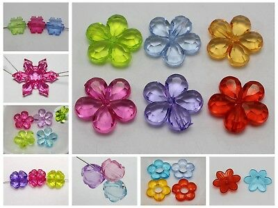 Craft DIY Mixed Colour Transparent Acrylic Charm Beads Various Rose Flower Shape
