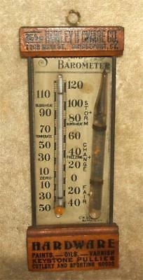 Late 1800's Standard Barometer & Thermometer Advertising Hawley H'Dware Bpt CT