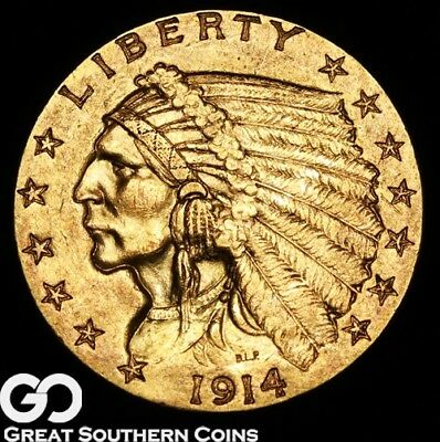1914 Quarter Eagle, $2.5 Gold Indian, Better Date ** Free Shipping!